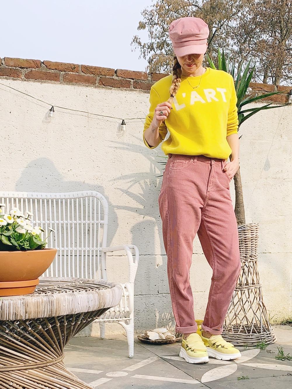 roze corduroy broek