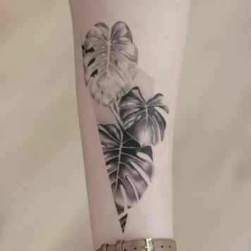 Monstera leave tattoo