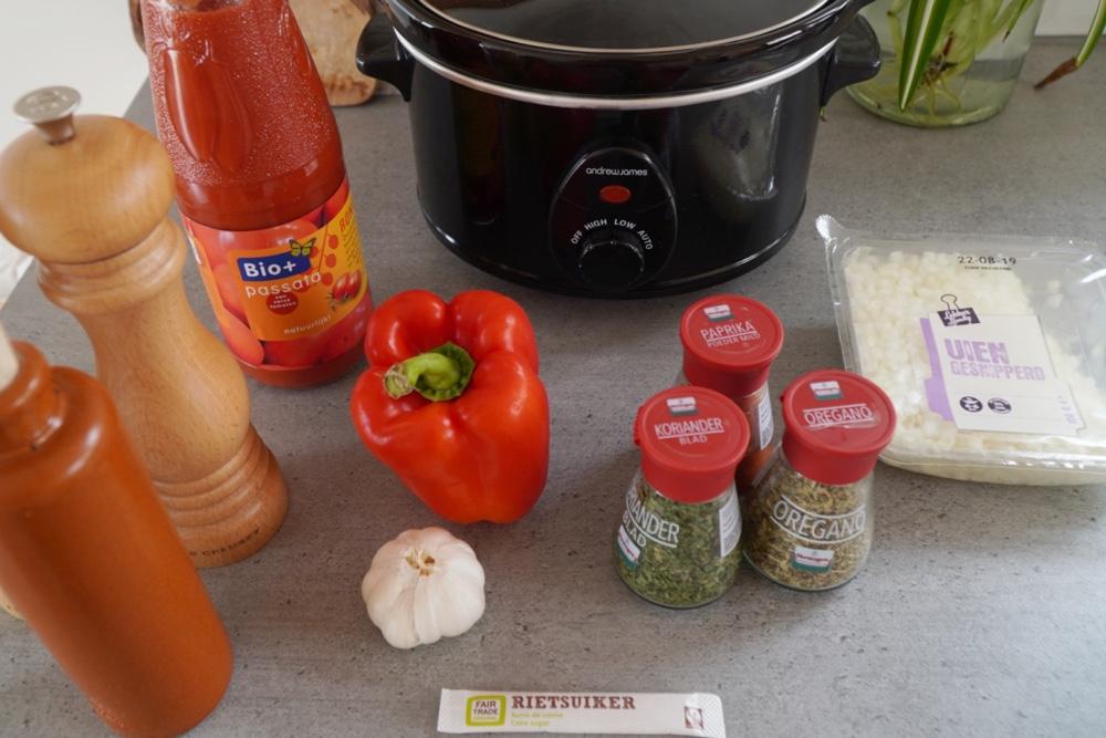 ingrediënten voor tacosaus uit de slowcooker