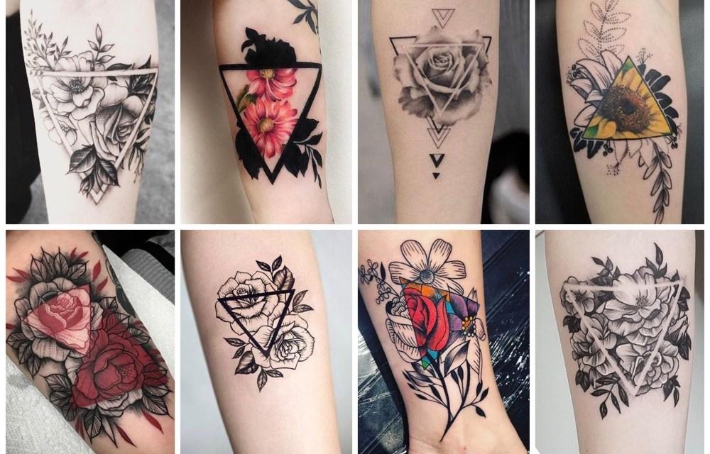 18x een prachtige driehoek tattoo met bloemen (+ betekenis)