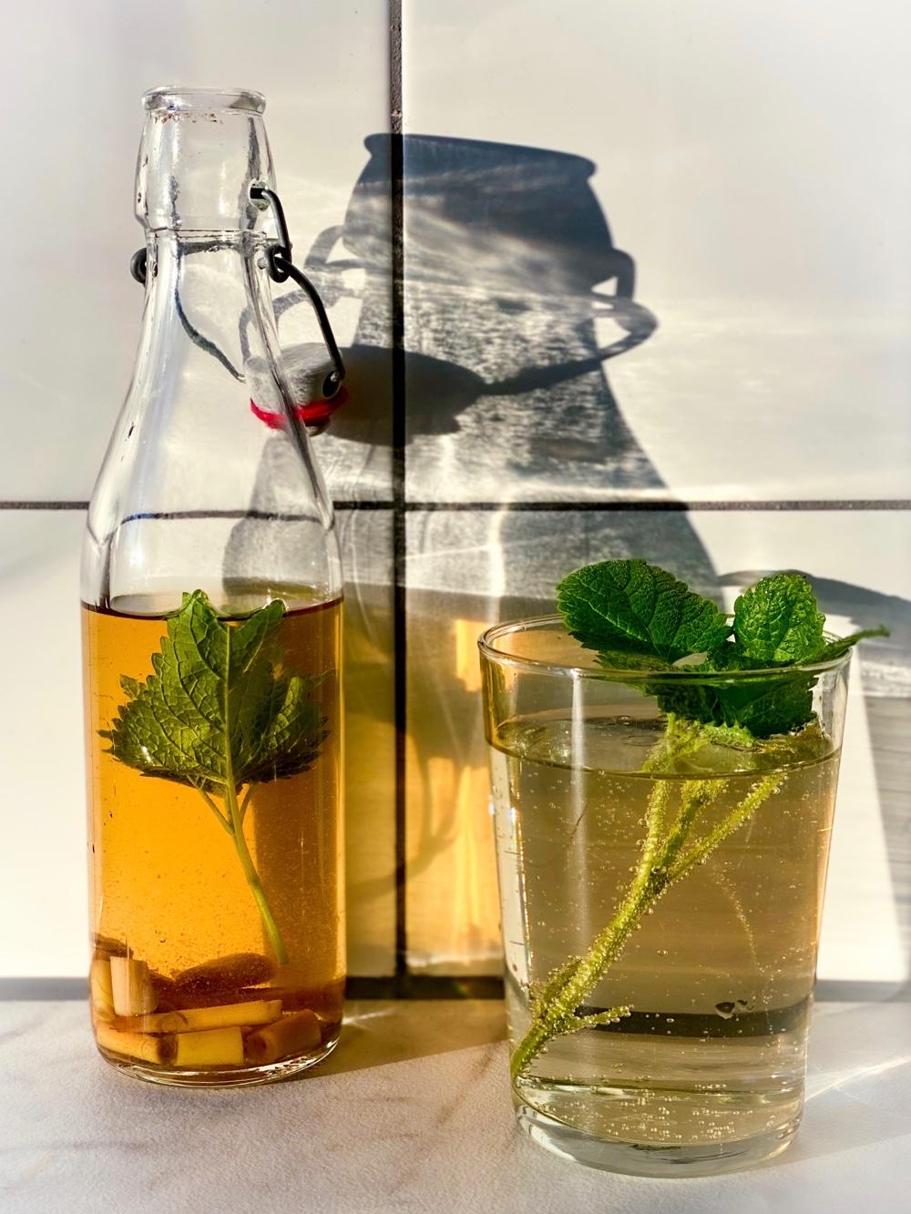 limonade met citroengras en citroenmelisse