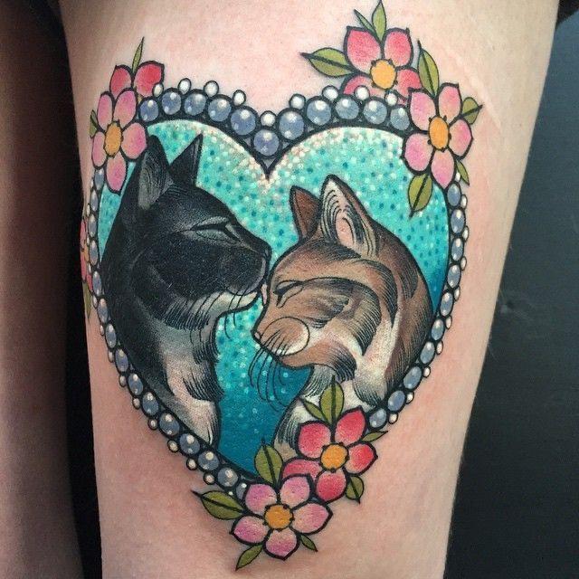 old school cat tattoo