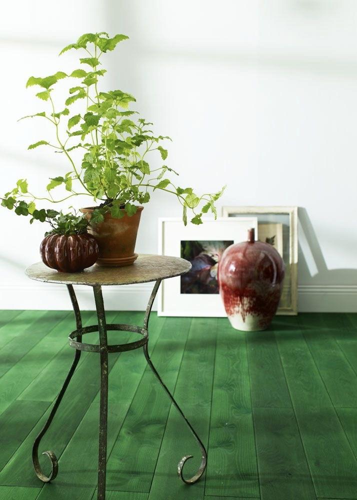 groene houten vloer