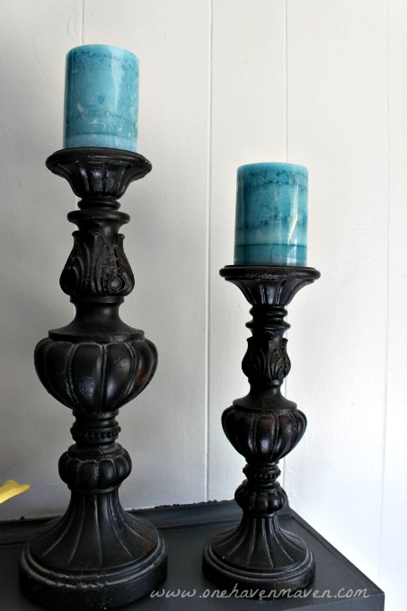 Black and Turquoise Mantel Decor