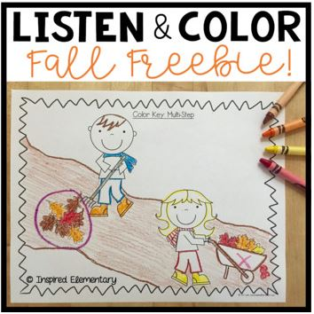 Fall Printable Freebies for Elementary Teachers: Listen and Color