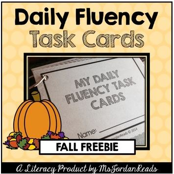 Free Fall Printables for Elementary Teachers- Daily Fluency Task Cards