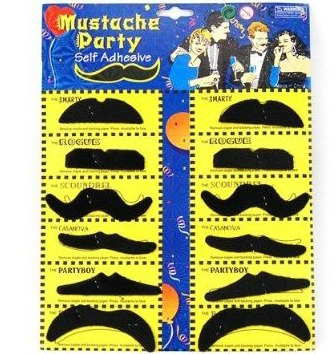 12 Pack Self Adhesive Assorted Fake Moustache