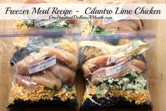 Freezer Meal Recipe -  Cilantro Lime Chicken