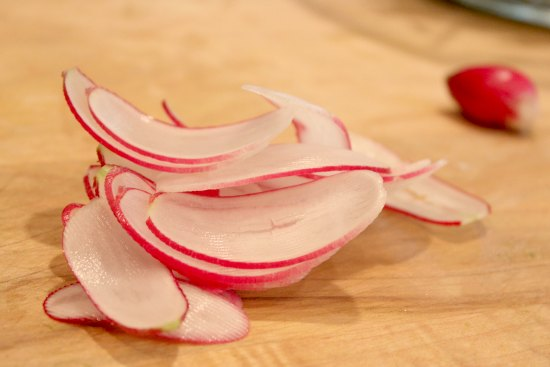 french breakfast radish sliced