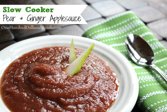 Slow Cooker Pear & Ginger Applesauce