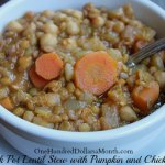 Vegetarian Slow Cooker Lentil Stew with Pumpkin and Chickpeas