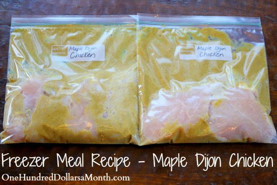 Freezer Meal Recipe - Maple Dijon Chicken
