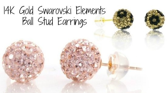 14K Gold Swarovski Elements Ball Stud Earrings