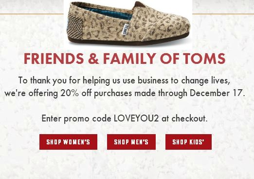 TOMS shoe coupon
