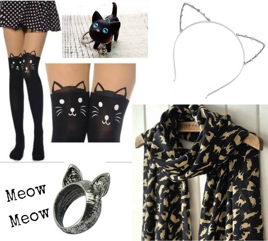 cat scarf cat tights cat ring