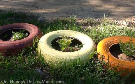 using tires for gardening