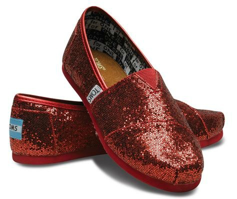 red glitter TOMS