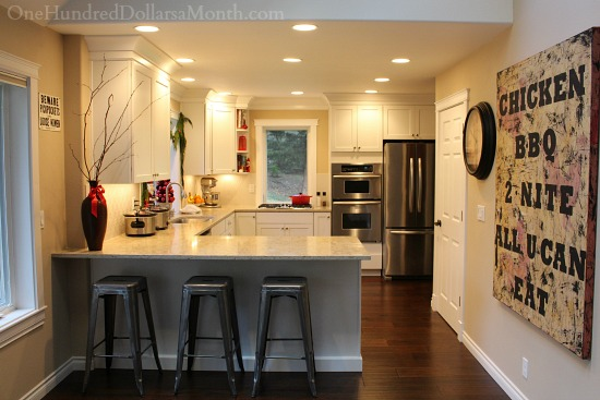 white kitchen dark floors remodel