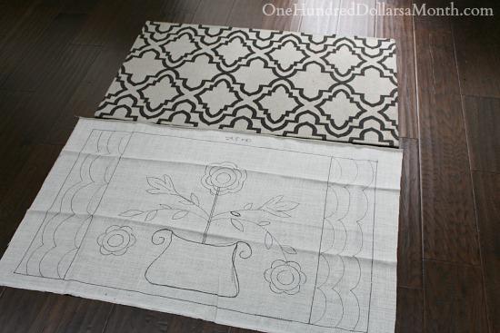primitive hooked rug design