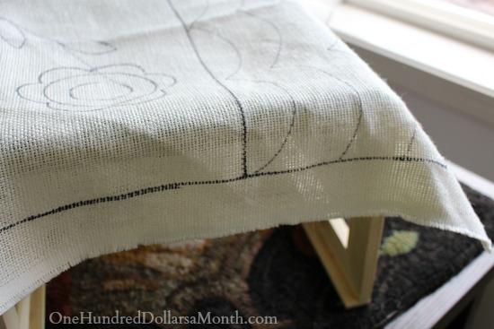 rug hooking linen on frame