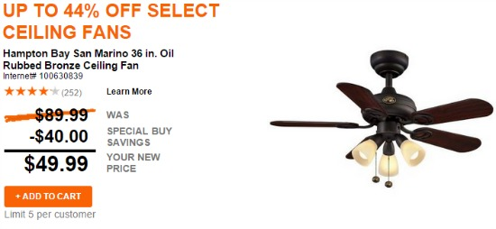 hunter ceiling fan deals