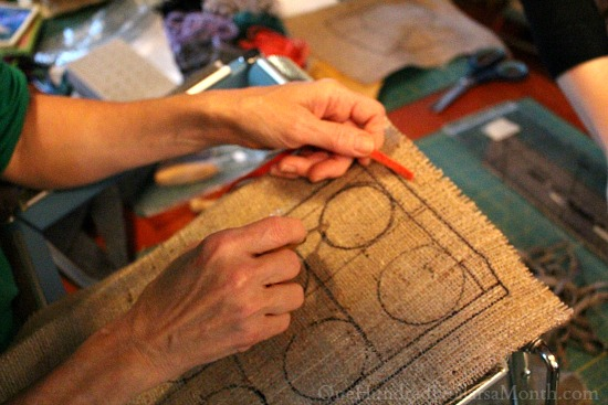 using a rug hooking frame