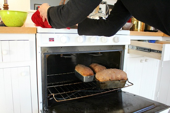 bread in the oven