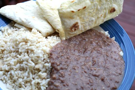 beans rice tortillas