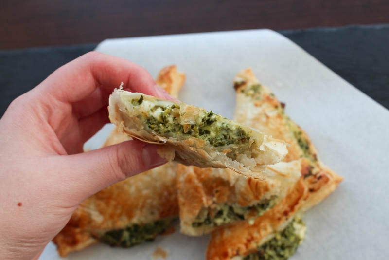 Puff Pastry With A Spinach And Feta Cheese Filling
