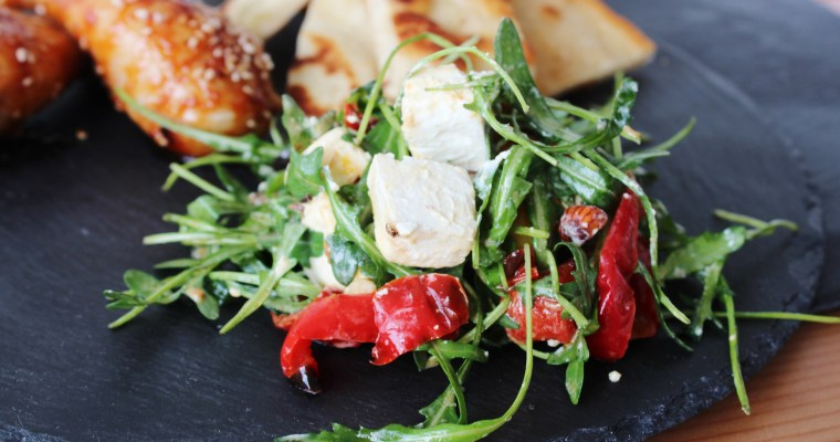 Salad With Feta Cheese And Oven Roasted Bell Peppers