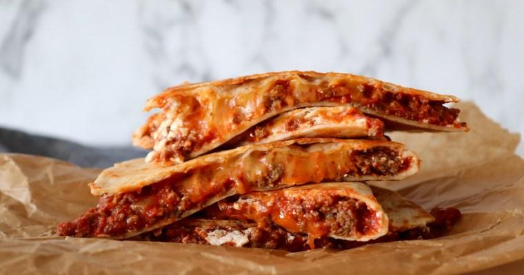 Quesadillas Med Kødsauce – Tortillas Med Kødsauce Og Ost