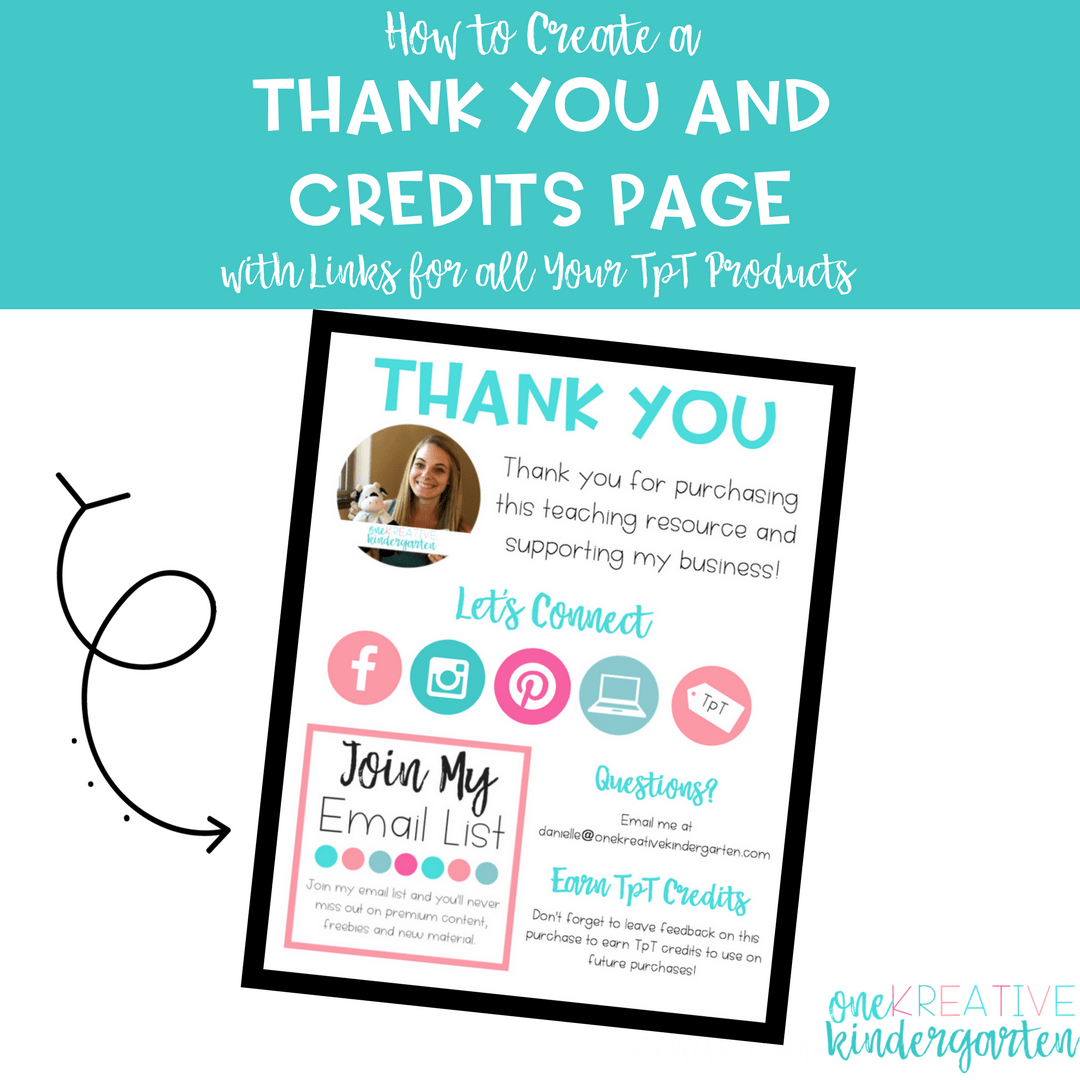How to Create a Thank You and Credits Page for all Your TpT Products ...