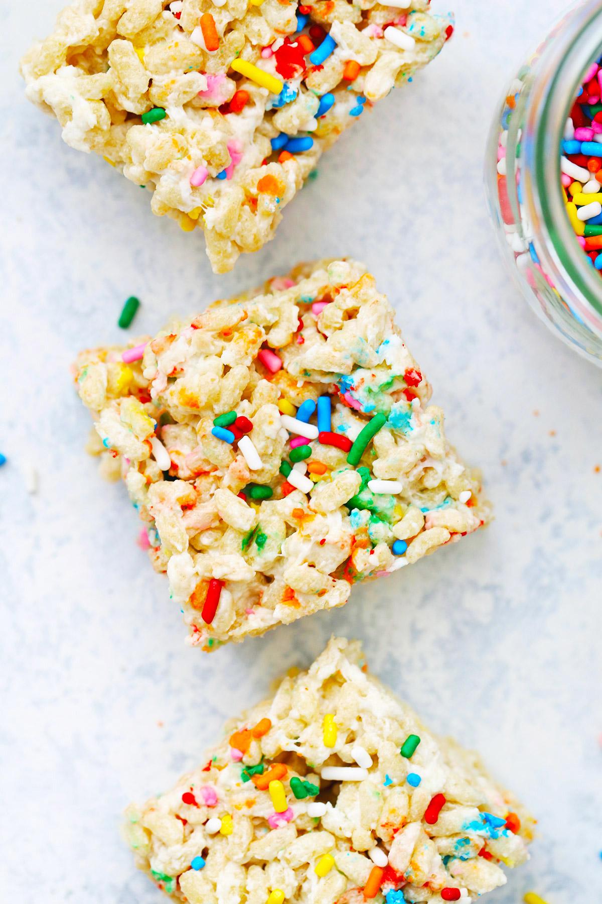 Funfetti Birthday Cake Rice Krispies Treats Gluten Free Vegan One Lovely Life