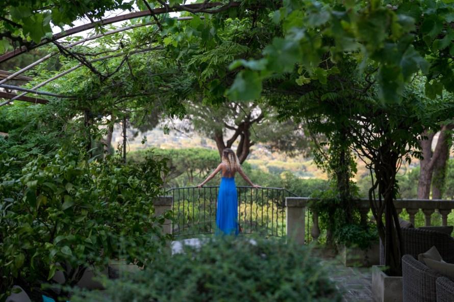 girl on blue dress at Villa Marie Saint Tropez
