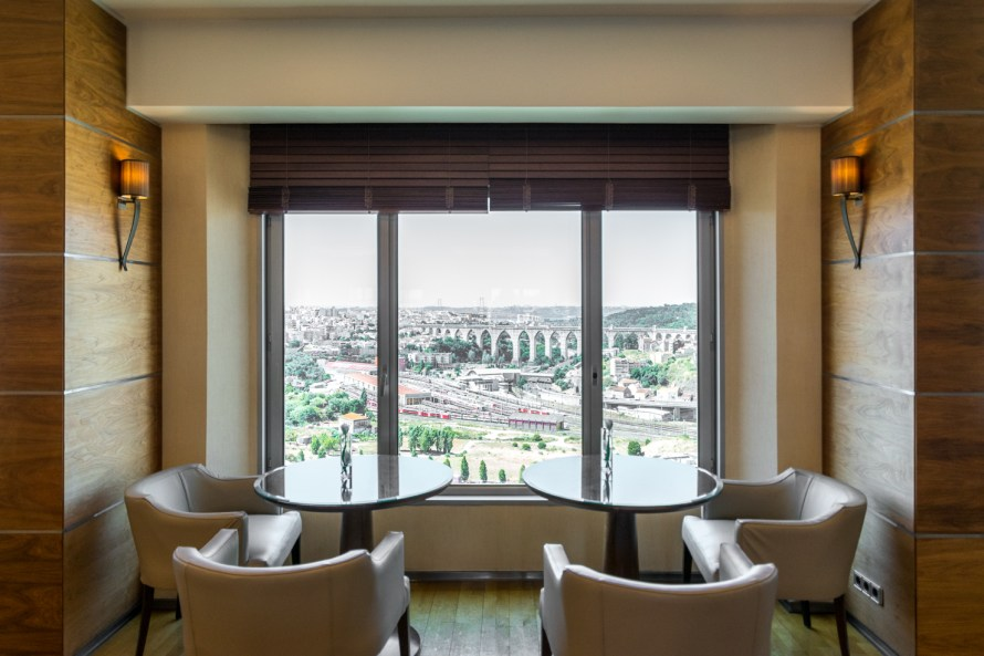 Executive lounge with view of aqueduct in Corinthia Hotel Lisbon