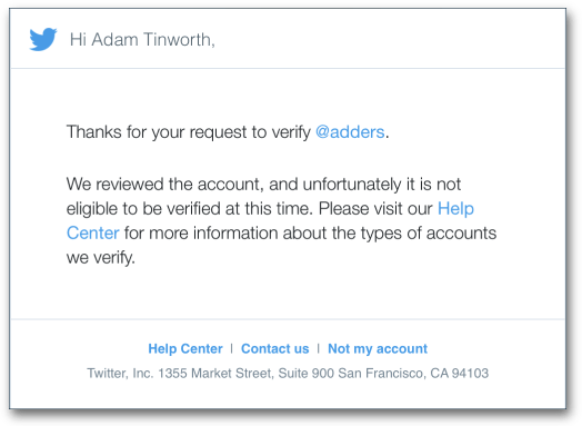 Twitter verified denied