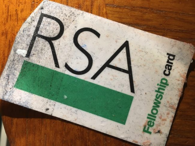 the old RSA Fellowship Card