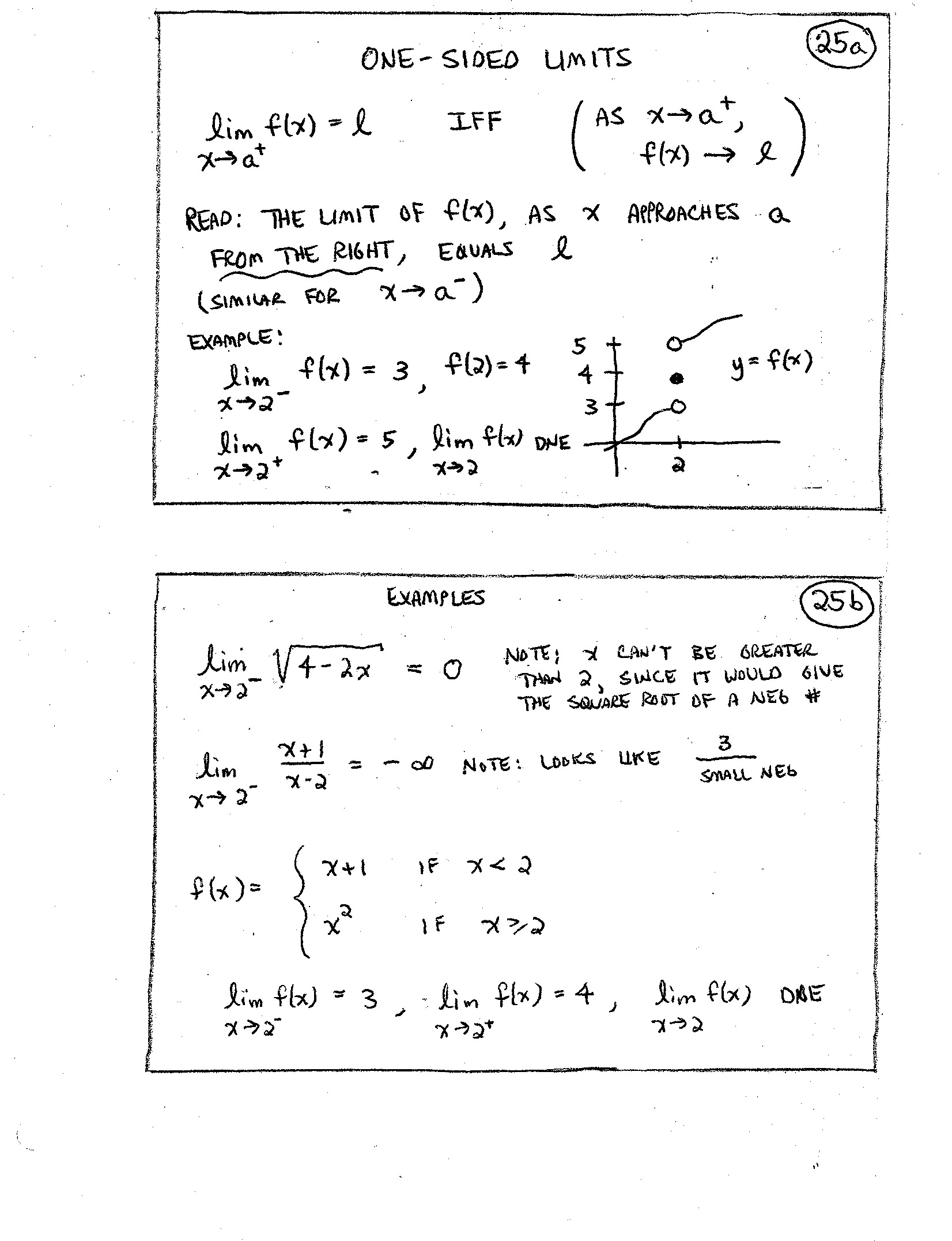 Worksheet On One Sided Limits