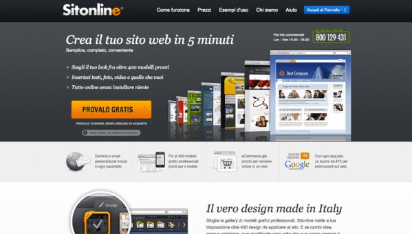 schermata del sito sitonline