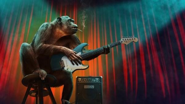 scimmia che suona la chitarra