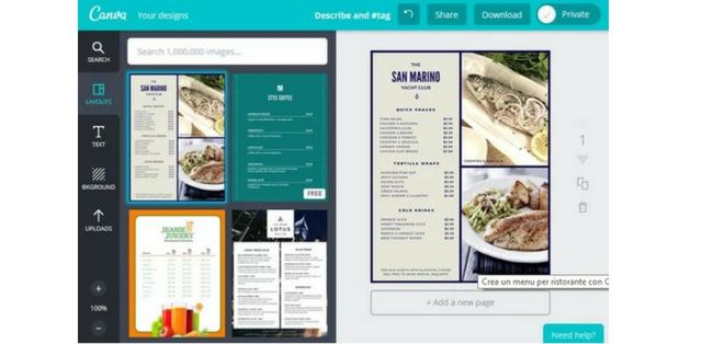 creare menù ristorante Canva