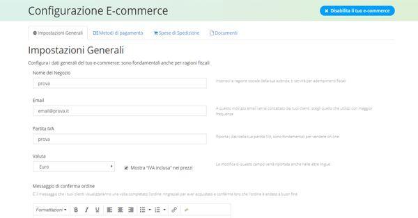 Creare un e-commerce con Oneminutesite