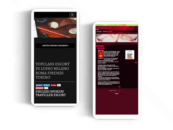 screenshot sito escort esempio