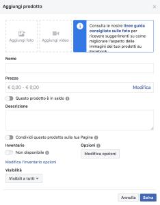 inserimento prodotti vetrina facebook