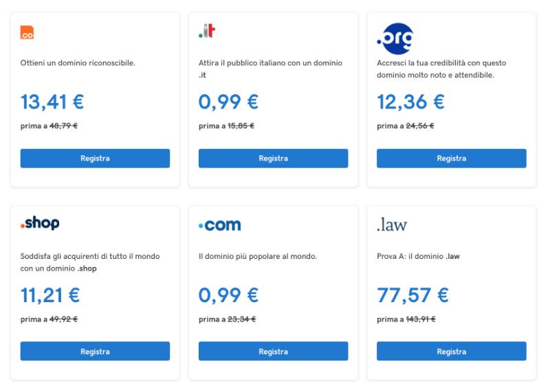 quanto costa un sito web prezzo medio dominio
