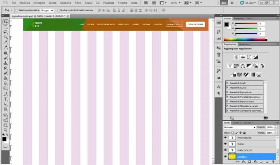 Crea una pagina web con Photoshop navigazione