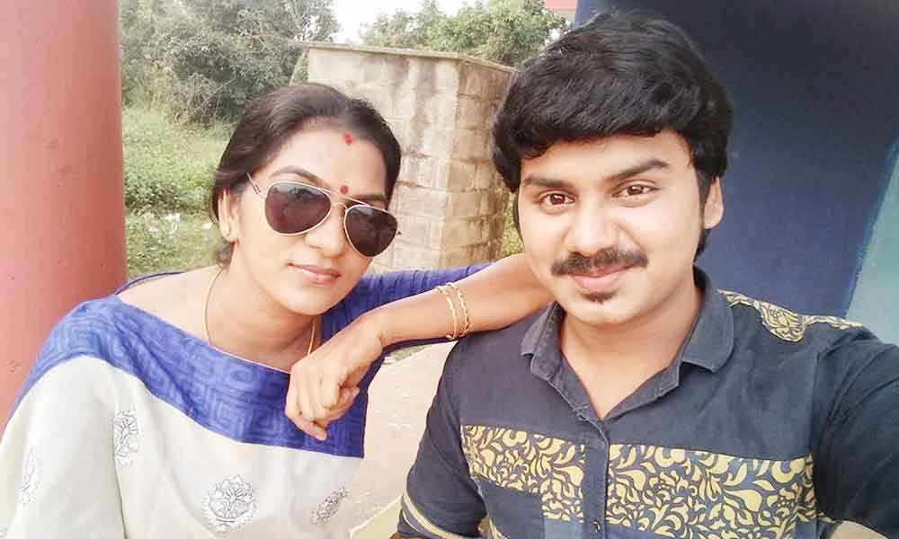 Shanthi with Actor Surjith ansary