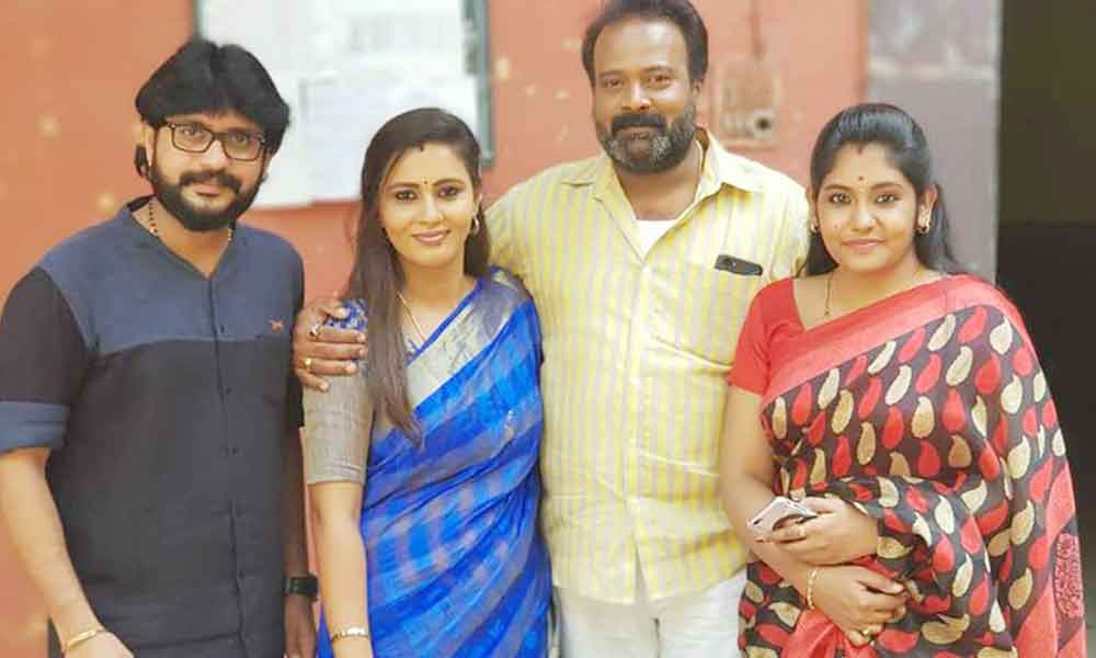Andrew Jesudoss with Actresses Neha Gowda, Sruthi Shanmuga Priya and Actor Eshwar