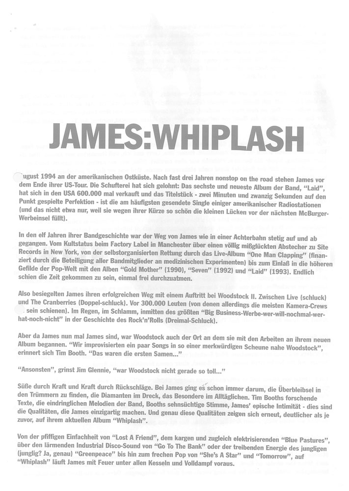 One Of The Three | Whiplash- The James Band Archive