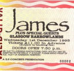 A Typical James Gig - Tour Pamphlet from December 1993